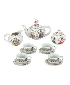 This Alice in Wonderland Miniature Collector Tea Set is perfect! #zulilyfinds