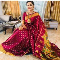 Indian Bridal Sarees, Bridal Silk Saree, Saree Wedding, Silk Sarees, Marathi Bride, Saree Poses, Indian Wedding Photography Poses, Saree Photoshoot, Sky Painting