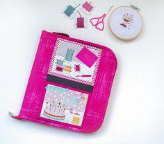 Hot pink floss zipper organizer for bobbin card hand   Etsy