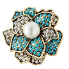Turquoise and Gold Fashion Ring with Pearl - One Size Fits Most - Lead and Nickel Free (Jewelry)  http://www.1-in-30.com/crt.php?p=B0058KQ4JS  B0058KQ4JS