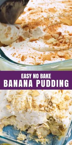 This timeless old-fashioned No Bake Banana Pudding features creamy vanilla pudding, crunchy vanilla wafer cookies, sweet banana slices, and fluffy whipped cream in every bite. No-Bake Banana Pudding is an American classic dessert layered with creamy pudding, vanilla wafer cookies, fresh banana slices, and fluffy whipped cream. Every bite has this amazing crunchy, creamy, sweet, and airy combination, making it an ultimate comfort food.. | @graciouswife #summerdessert #easyjuly4thdessert Best Dessert Recipes, No Bake Desserts, Mexican Food Recipes, Delicious Desserts, Snack Recipes, Yummy Food, No Bake Banana Pudding, Banana Pudding Recipes, Wafer Cookies