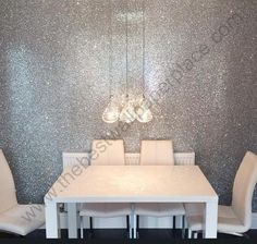 Our Silver Glitter wallcovering sent into us by one of our happy customers! Find more colours of our #glitterwallpaper by clicking through. Glitter is sold by the metre and is 147cm wide.