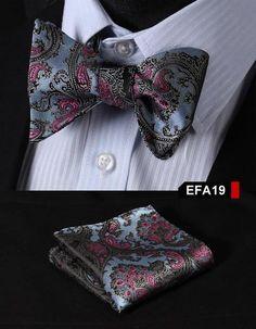 DQT Tissé plaine solide Carreaux Argent formel classique homme Self Tie Bow Tie