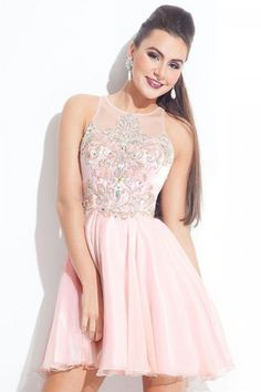 2015 Scoop Homecoming Dresses A-Line Short/Mini With Beads Chiffon - Homecoming Dresses $149.99