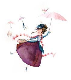 La fiancée au beurre salé So cute non Disney Mary Poppins :-) Art And Illustration, Illustration Mignonne, Watercolor Illustration, Art Disney, Disney Kunst, Mary Poppins, Art Fantaisiste, Art Mignon, Cute Images