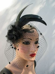Feather Fascinator, Black Birdcage Veil, Women's Hair Accessory, Dark Fairy Peony Flower Victorian Mourning Button - Batcakes Couture. $74.99, via Etsy.