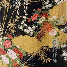 Japanese Kimono Floral Print Long Black | Long Kimonos