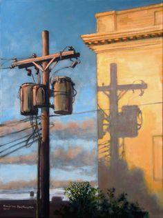 "Painting : ""September Sunset"" (Original art by Daniel van Benthuysen) Urban Landscape, Landscape Art, Landscape Paintings, Landscapes, Urban Painting, Painting & Drawing, Painting Inspiration, Art Inspo, Guache"