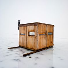 Mike Rebholz photographs the ice-fishing huts of Wisconsin