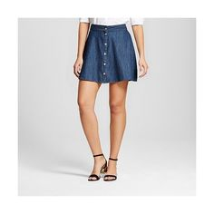 Women's Denim Button Front Skirt ($20) ❤ liked on Polyvore featuring skirts, blue, blue skirt, patterned skirts, merona skirt, a-line skirt and button front a line skirt
