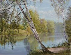 Купить Полдень - картина маслом, летний день, река, березы, реализм, пейзаж маслом