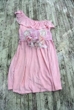 Boho Chic sundress, one shoulder dress, ruffle easter dress, cottage chic, pink french market, romantic rustic   dress, spring pink  casual bridesmaid dress