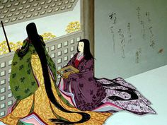 2 women dressed in junihitoe by artist Agameishi.