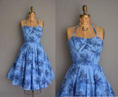vintage 1950s dress/50s Kamehameha dress / 50s halter dress