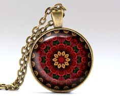 Awesome Fractal pendant with a chain or a leather cord. Nice Bohemian necklace in bronze or silver finish. Beautiful Geometry jewelry.  SIZE: 25 mm (1