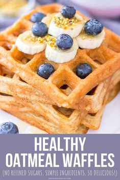 These Oatmeal Waffles are perfect family breakfast. Light, sweet, and incredibly satisfying; made with healthy ingredients and WITHOUT REFINED SUGARS. They're fantastic! + EASY to make with a few simple pantry ingredients. -------- #waffle #waffles #recipe #easy #oats #oatmeal #healthy #breakfast #weightloss #skinny #brunch Delicious Breakfast Recipes, Best Dessert Recipes, Brunch Recipes, Easy Desserts, Real Food Recipes, Delicious Desserts, Oatmeal Waffles, Waffle Recipes, Biscuit Recipe