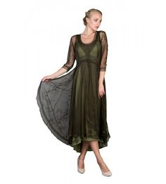 Downton Abbey Tea Party Gown in Emerald by Nataya. Beautiful vintage-inspired dresses. Fast worldwide delivery. Click or call 323-592-9172 for more info.