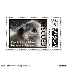PETA Cat Rescued Stamp