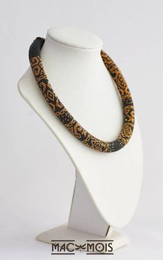 Beaded Crocheted Necklace Bead Rope Gift Necklace Greek Print