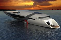 The futuristic all-electric Tesla Yacht Model Y, uses solar panels to harness the sun's energy.The 40 meters Tesla Model Y concept designed by Dhruv Prasad, uses a hydroelectricity turbine system that collects energy as it moves through Yacht Design, Boat Design, Tesla Motors, Most Expensive Yacht, Grand Luxe, Float Your Boat, Yacht For Sale, Yacht Boat, Speed Boats