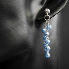 Swarovski pearl bead and sterling silver cluster drop earrings, pearl jewellery £23.00
