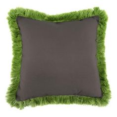 Jordan Manufacturing Sunbrella Canvas Coal Square Outdoor Throw Pillow with Gingko Fringe - DP985P1-001F28 - The Home Depot