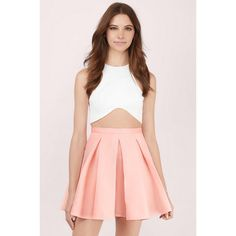 Tobi Myah Pleated Skater Skirt ($50) ❤ liked on Polyvore featuring skirts, peach, pink skirt, pink skater skirt, knee length pleated skirt, pleated circle skirt and flared skirt