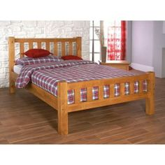 Sturdy and stylish wooden bed frame. Features a high slatted headboard and foot end. Available in a quality honey finish. Sizes: Small Double x Double x King Size x Manufactured by Limelight. Similar to Austin bed frame. Single Wooden Beds, Wooden King Size Bed, Single Beds, Wooden Bed Frames, Wood Beds, Bed Slats, Beds For Sale, Dorm Rooms