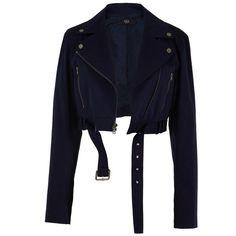 Tibi Brushed Twill Cropped Moto Jacket (€125) ❤ liked on Polyvore featuring outerwear, jackets, coats & jackets, coats, tops, ibiza navy, snap jacket, cropped motorcycle jacket, blue motorcycle jackets and cropped biker jacket