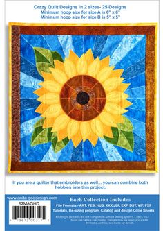 Machine embroidery sunflower I have this I want to do it.