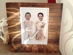 Svatební dar - originální obraz z peněz a portrétů ženicha a nevěsty :: VŠEproLIDI