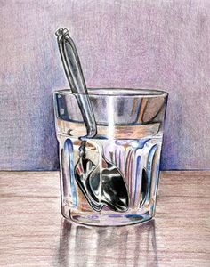 ✿Glass & Enamel✿ Drawing Glass and spoon Painting Still Life, Still Life Art, Pencil Drawings, Art Drawings, Amazing Drawings, Amazing Art, Artist Painting, Painting & Drawing, Reflection Art