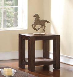 Fairway Distressed Walnut Acacia Solids Veneers Chairside Table