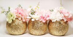 Gold Wedding Decor, Glass Round Vase Centerpieces, Graduation Party Decorations, Birthday Decor, Glitter Vase, Gold Centerpieces, Set of 3 by LimeAndCo on Etsy https://www.etsy.com/listing/237704576/gold-wedding-decor-glass-round-vase