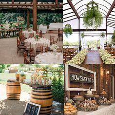 Nós <3 madeira! O elemento indispensável para esse tipo de decoração no casamento é a madeira. Use-a nas paredes, nas mesas, nas cadeiras, nos suportes e complemente a sensação rústica intimista abusando da palha.