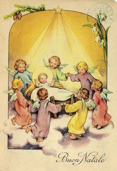 Baby Jesus surrounded by angels.