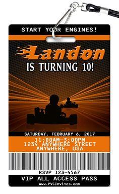 Go-Kart Birthday Invitations