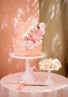 Sweet Bloom peach and floral cake via 100 Layer Cake Beautiful Wedding Cakes, Gorgeous Cakes, Pretty Cakes, Amazing Cakes, Cake Wedding, Wedding Rings, Cupcakes, Cupcake Cakes, Gateaux Cake