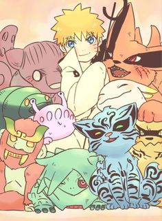 Naruto, kurama and others
