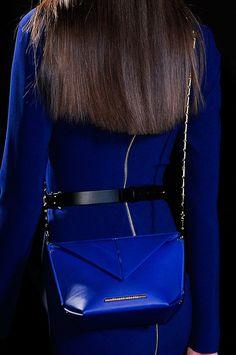 Blue crossbody bag at Roland Mouret Fall 2014 - Best Runway Bags Paris Fashion Week Bags #PFW