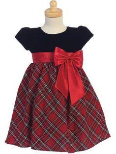 Opal Boutique Designer Style Children/'s Girls Long Sleeve Dress Red Trim Ribbon Grey Plaid Bow Design