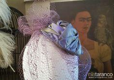 Tocado de invitada con velo cubriendo la cara y pequeño casquete circular by nila taranco en la 3ª Wedding Experience...