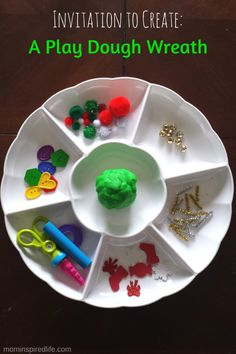 Invitation to Create a Wreath from Play Dough. This Christmas activity for preschoolers inspires creativity and provides fine motor practice.