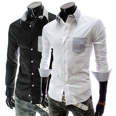 Long Sleeve Shirt with Color Accented Pocket . Shop Now At  http://sneakoutfitters.com/collections/new-in/products/ao-mbb-hb-c09-so38