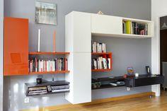 Composition murale avec modules 36e8 fermés et étagères linéa  #orange #arlydesign