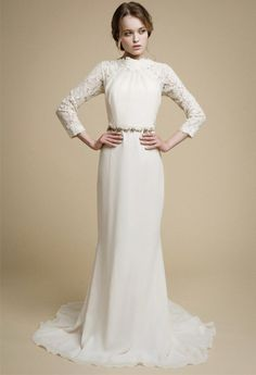 APAKENA Long Sleeve Wedding Dress Boho Lace Mermaid Modern Gown