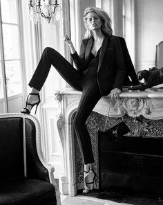Karolina Kurkova For Giuseppe Zanotti F/W 2015 // tux suit & sexy strappy heels #style #fashion