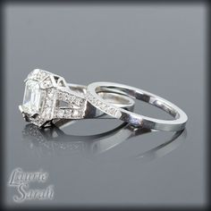 Emerald Cut Diamond Engagement Ring with Wedding Band - LS745 via Etsy