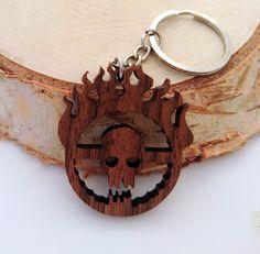 Wooden Immortan Joe Skull keychain, Mad Max Fury Road Keychain,Movies Keychain, Environmental Friendly Green materials
