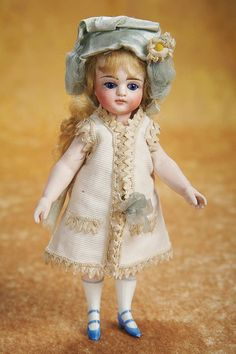 """Theriault's - 7"""" Large German All-Bisque Mignonette for the French Market, Original Costume, c 1882"""